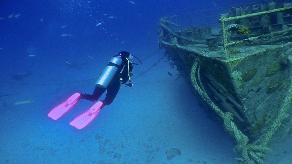 Pink Scuba Fins and Wreck