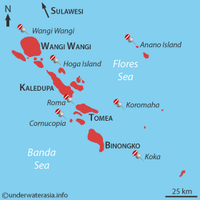 Wakatobi Dive Sites Map