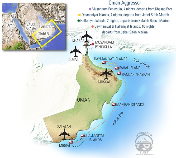Oman Aggressor Dive Itinerary Map