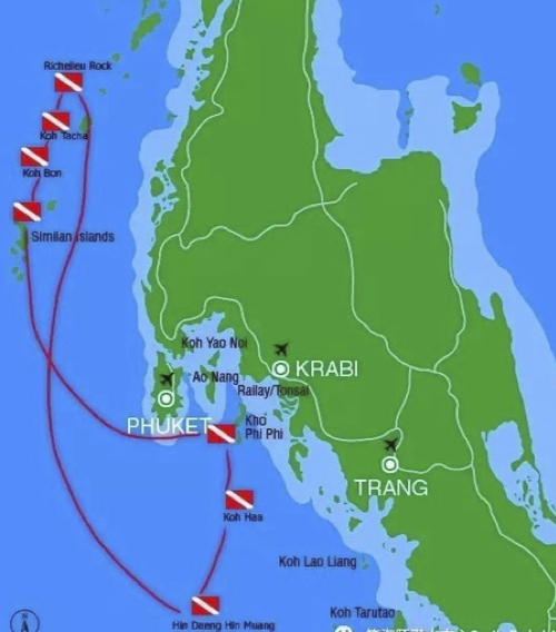 MV Gentle Giant Itinerary Map Thailand Liveaboard Diving