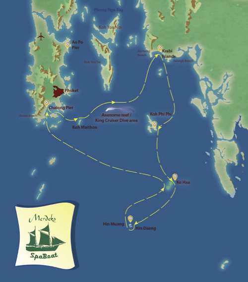Merdika 3 Itinerary Map Thailand Liveaboard Diving