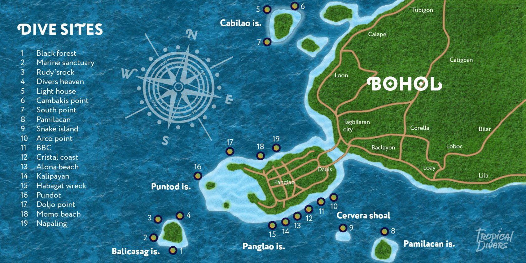Panglao Island Dive Site Map Philippines Scuba Diving