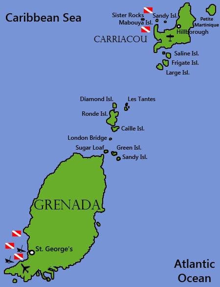 Grenada Dive Sites Map