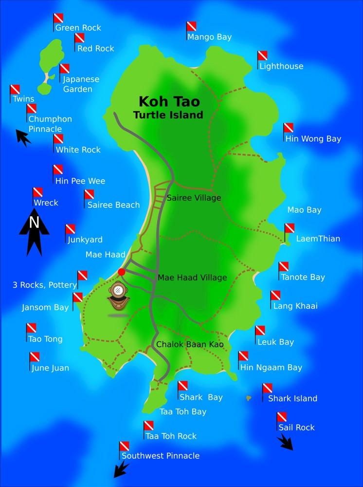 Koh Tao Dive Site Map Thailand Scuba Diving
