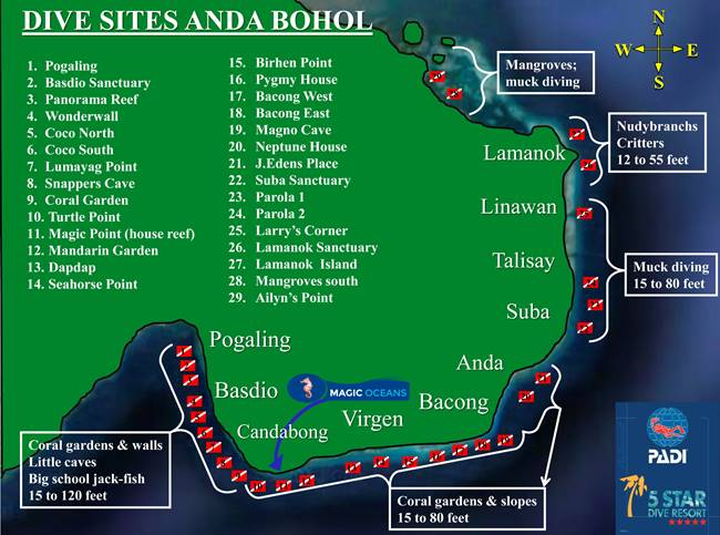 Anda Dive Site Map Philippines Scuba Diving