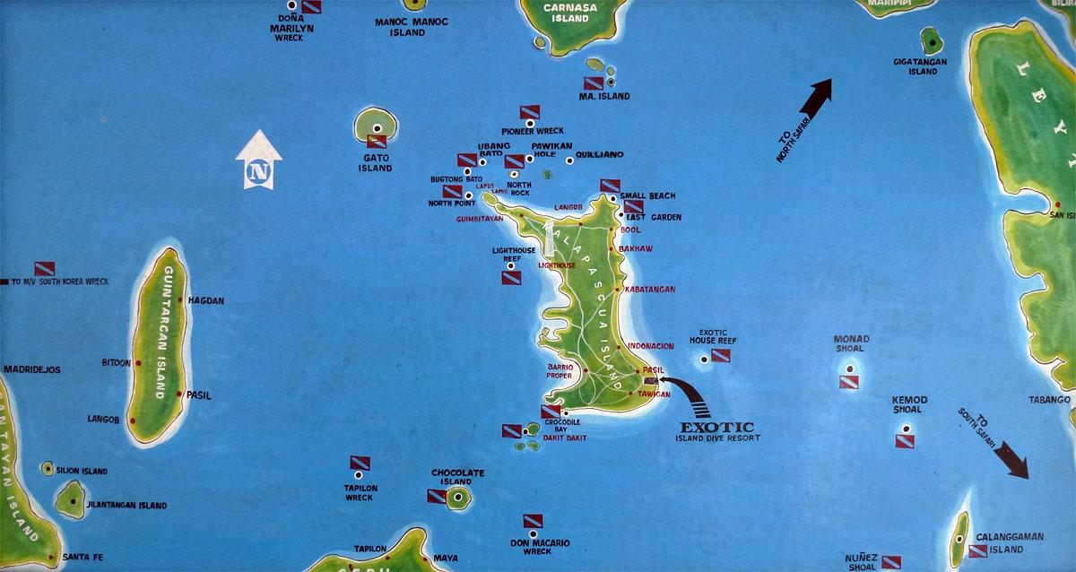 Malapascua Dive Site Map Philippines Scuba Diving