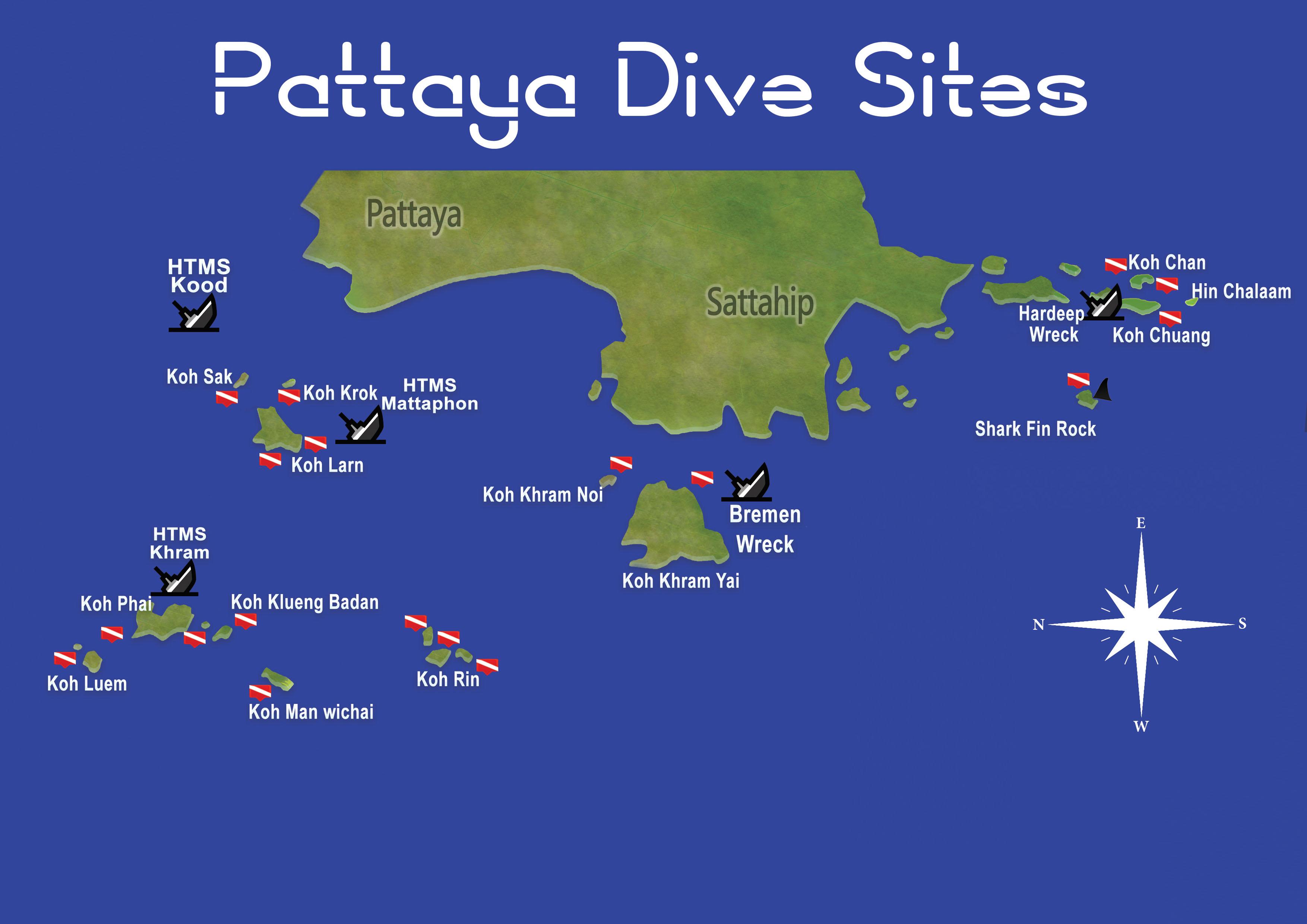 Pattaya Dive Sites Map Thailand Scuba Diving