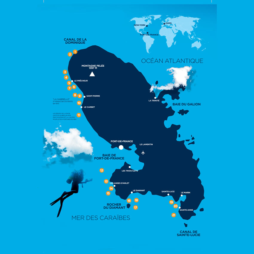 Martinique Dive Sites Map