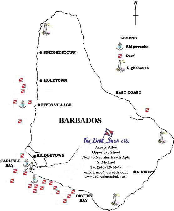 Barbados Dive Sites Map
