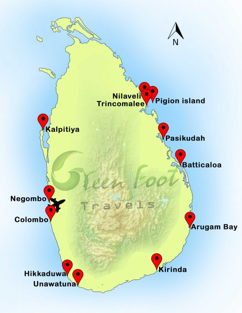Sri Lanka Dive Site Map