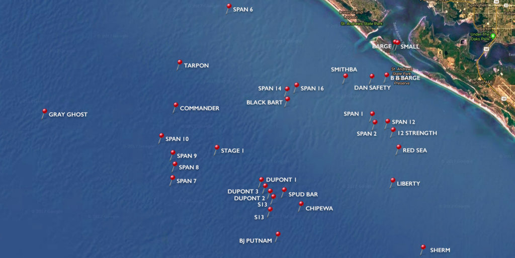 Panama City Beach Scuba Diving Sites Map