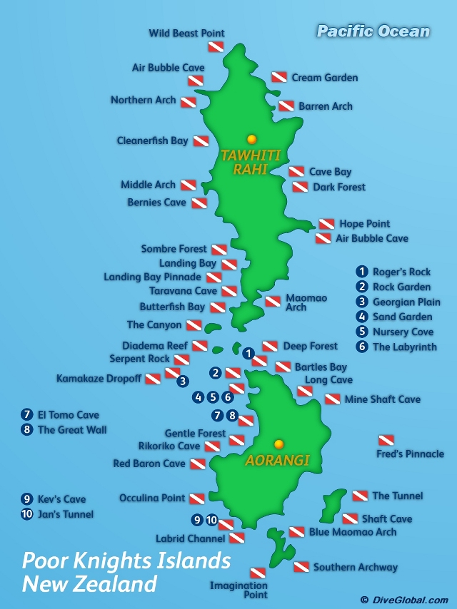 Poor Knights Islands Dive Site Map