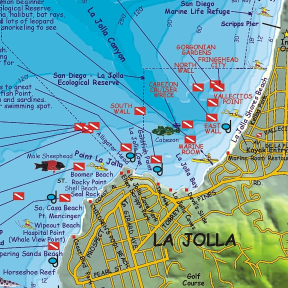 La Jolla Cove Dive Map