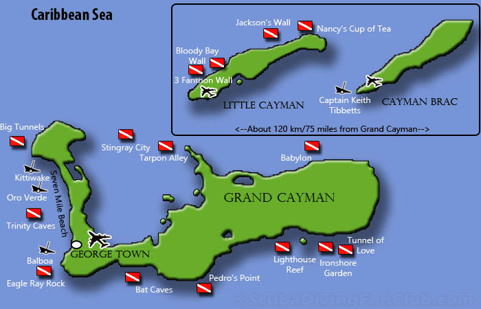 Cayman Islands Dive Sites Map