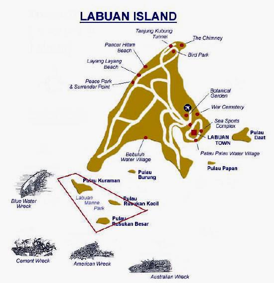 Labuan Scuba Diving Map