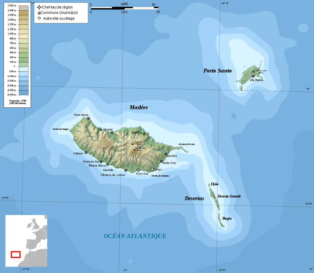 Madeira Dive Site Map