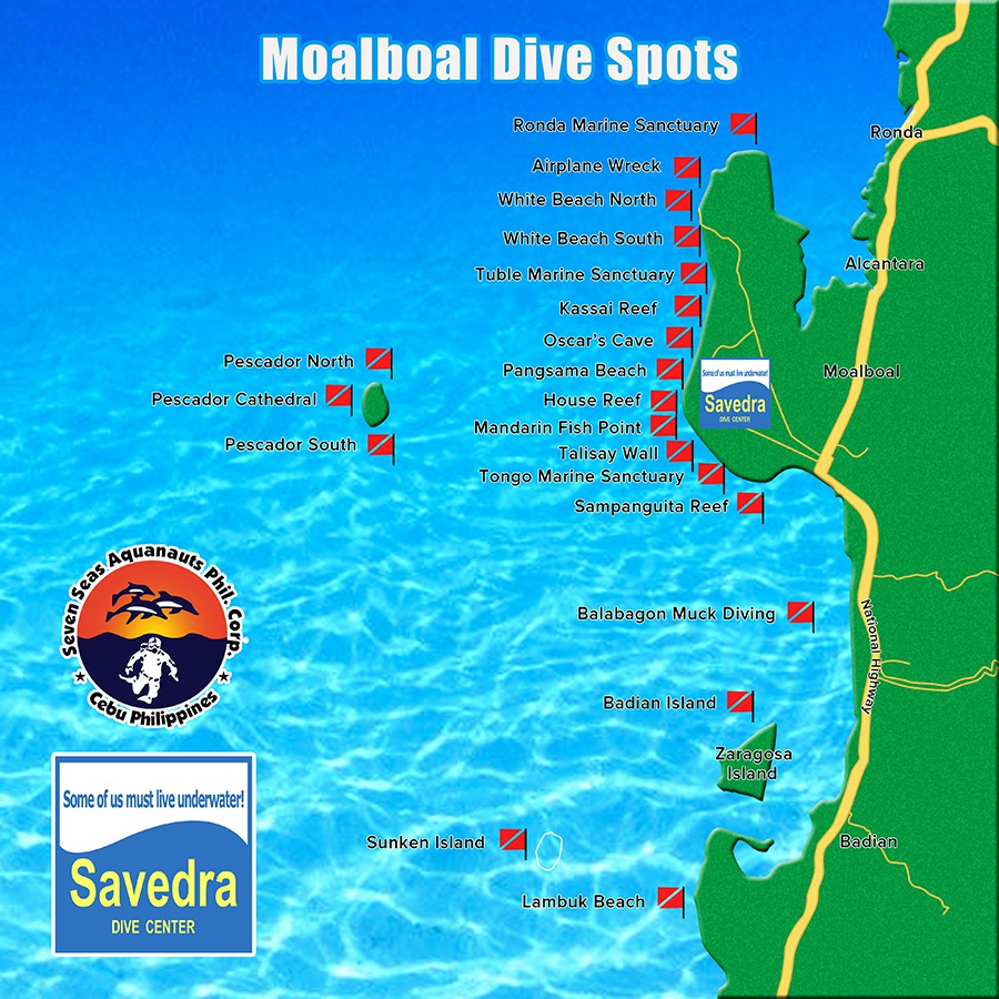 Moalboal Dive Sites Map