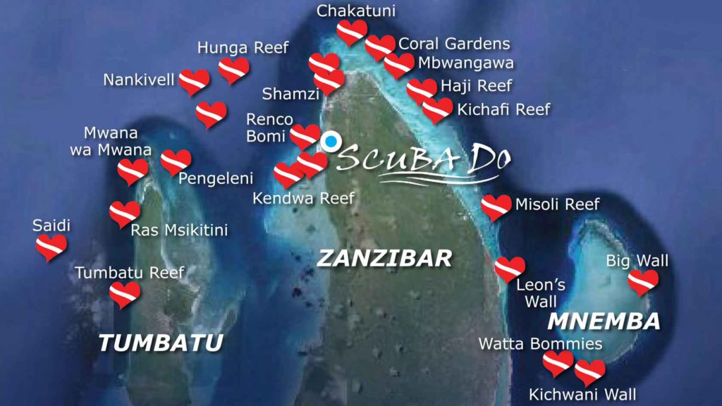 Zanzibar Dive Sites Map