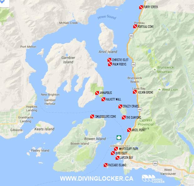 Howe Sound Dive Sites Map