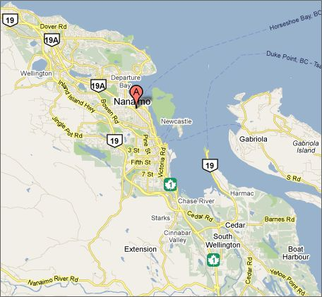 Nanaimo Dive Sites Map