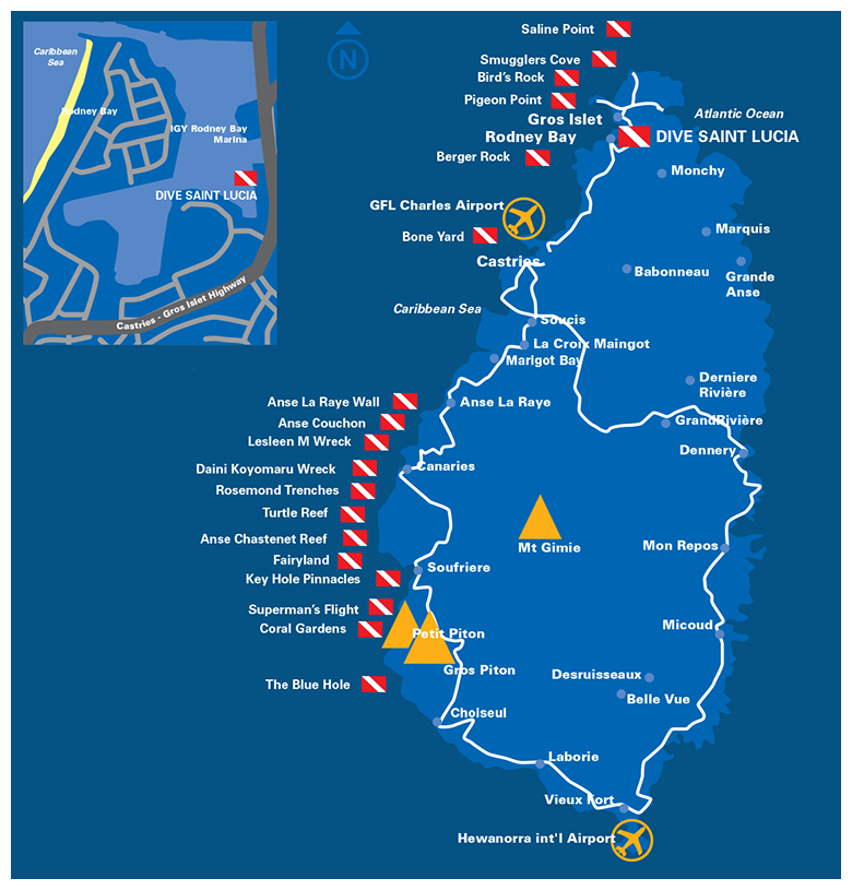 St Lucia Dive Sites Map