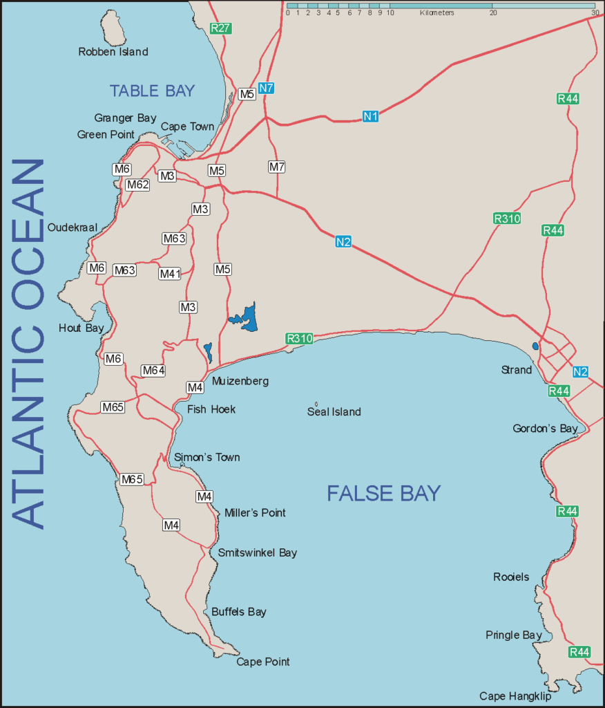 Cape Peninsula and False Bay Map