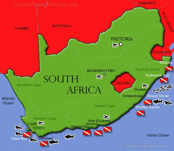 South Africa Dive Sites Map