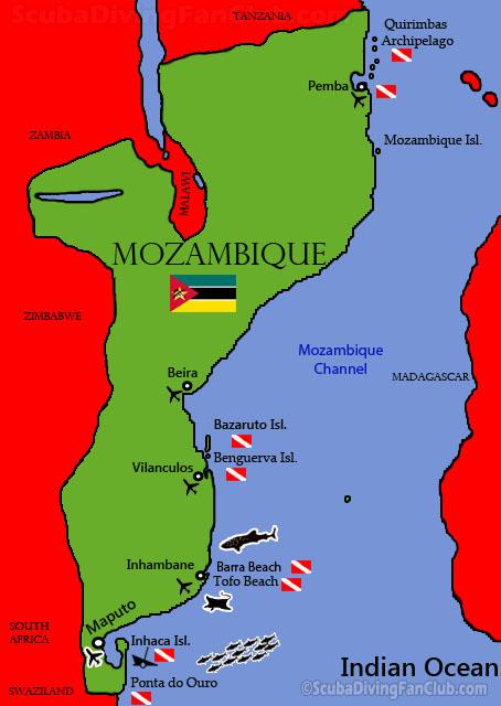 Mozambique Dive Sites Map