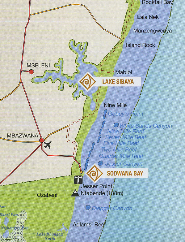 Sodwana Bay Dive Sites Map
