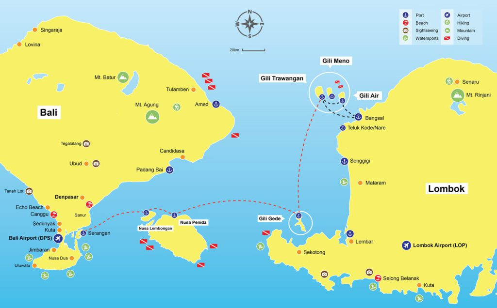 Gili Islands Location Map