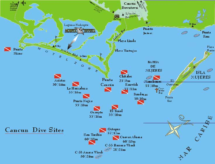 Cancun Dive Sites Map