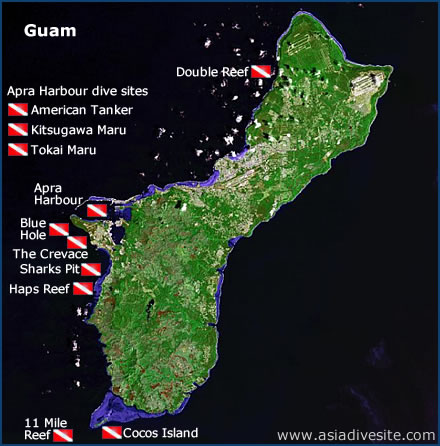 Guam Diving Sites Map