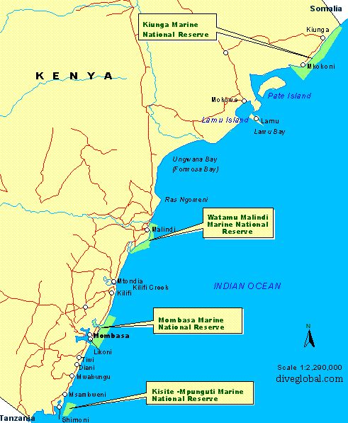 Mombasa, Kenya Dive Sites Map
