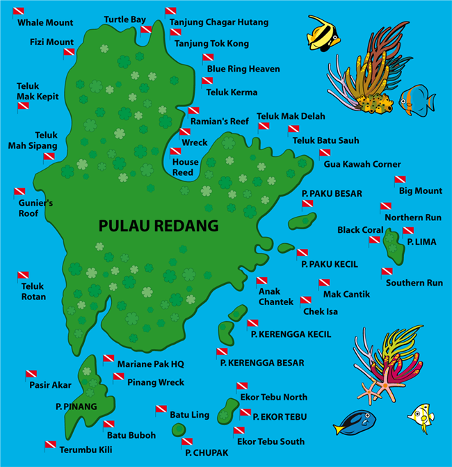 Redang Island Diving Sites Map