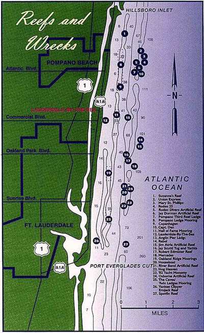 Fort Lauderdale Dive Sites Map