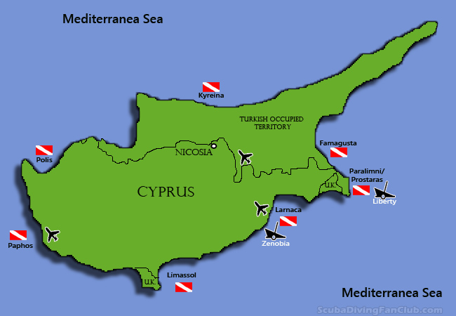Cyprus Dive Sites Map