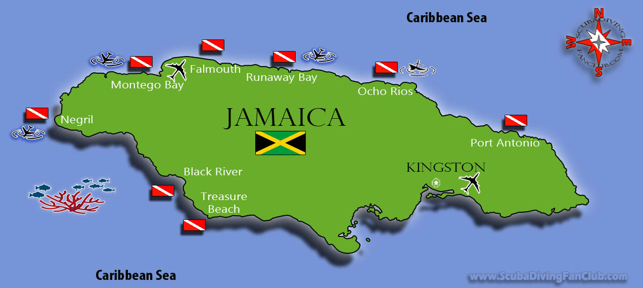 Jamaica Dive Site Map