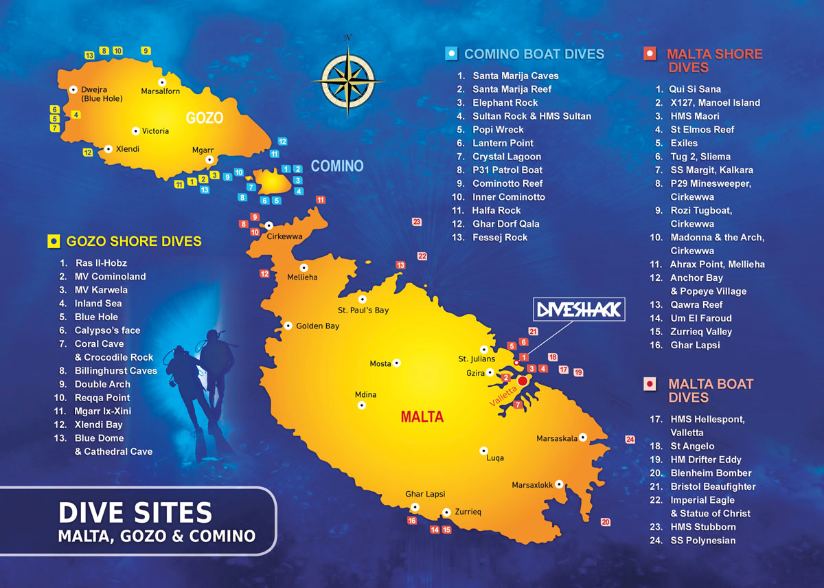 Malta Dive Sites Map