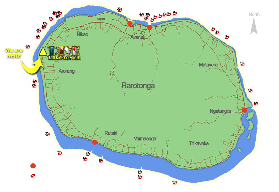 Rarotonga Dive Sites Map