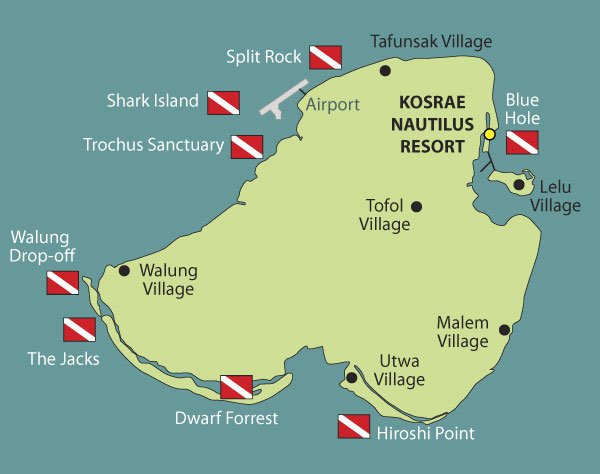 Kosrae Dive Sites Map