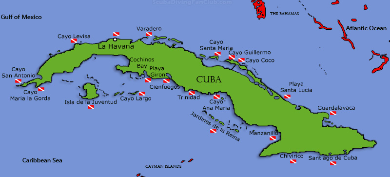 Cuba Dive Sites Map