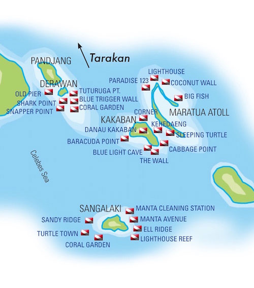 Derawan Islands Dive Sites Map