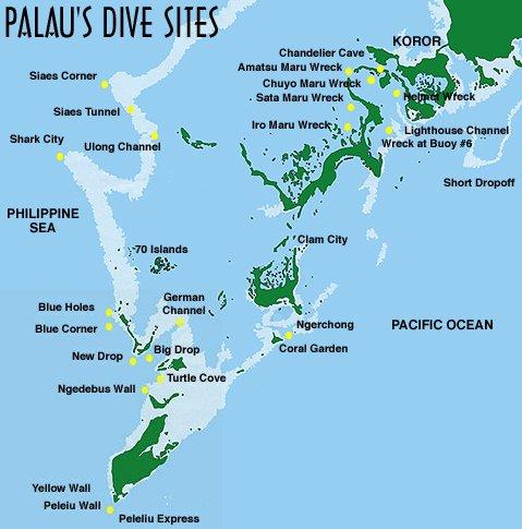 Palau Dive Sites Map