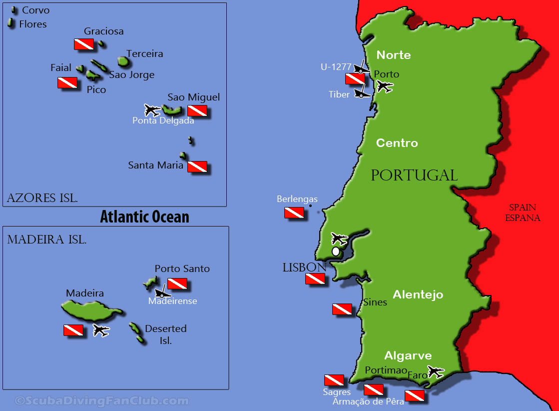 Portugal Dive Sites Map
