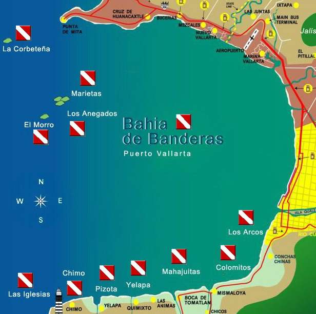 Puerto Vallarta Dive Sites Map
