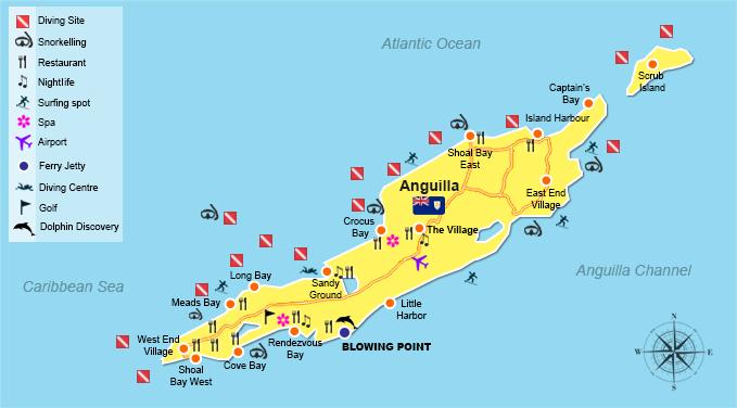 Anguilla Dive Sites Map