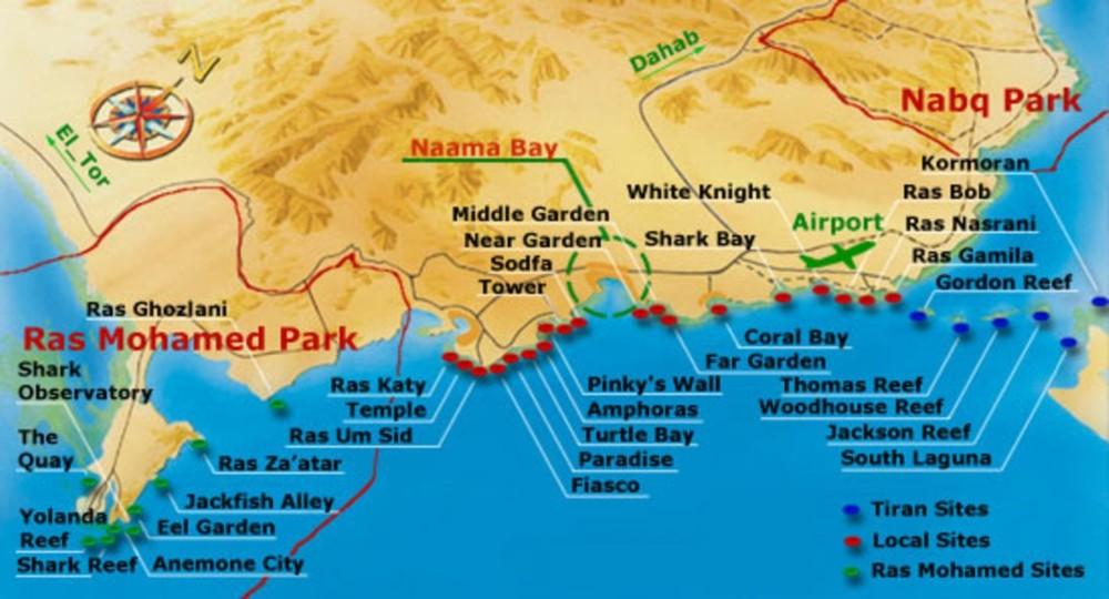 Sharm el Sheikh Dive Sites Map