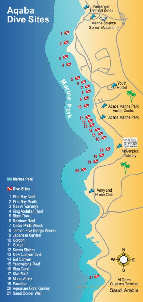 Aqaba Dive Sites Map