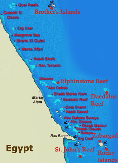 Marsa Alam Dive Sites Map