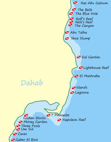 Dahab Dive Sites Map